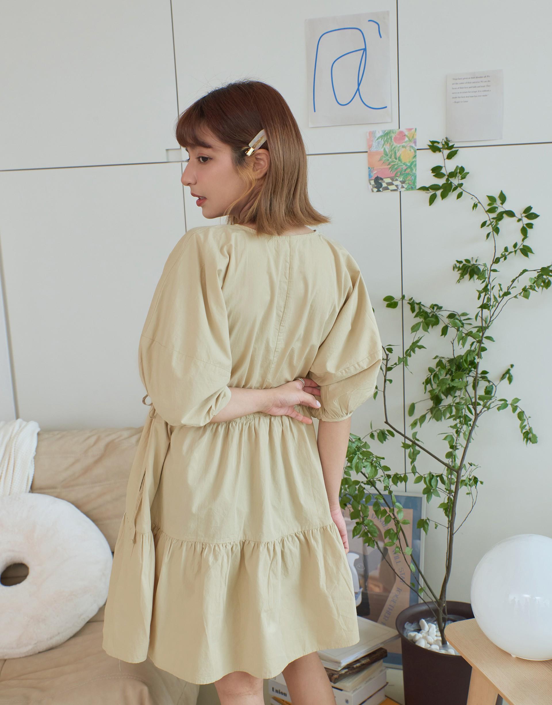 日常圓領綁帶蛋糕洋裝-PAZZO