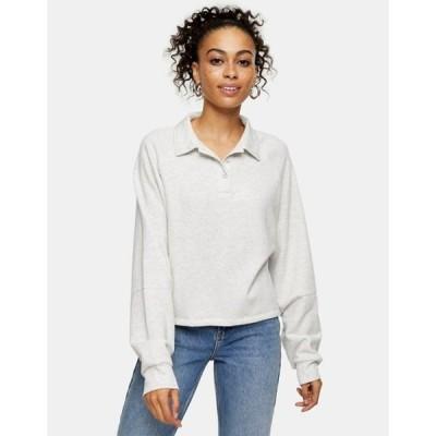 トップショップ レディース シャツ トップス Topshop rubgy lounge sweatshirt in gray heather