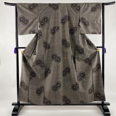 紬 美品 秀品 亀甲 菊 焦茶色 袷 158cm 64cm M 正絹 中古