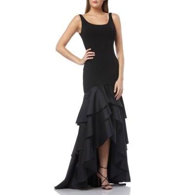 カルメンマークバルボ レディース ワンピース トップス Scoop-Neck Sleeveless Crepe Gown w/ Taffeta High-Low Ruffle Skirt