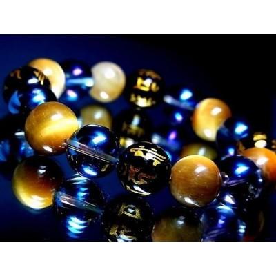 天然石 数珠ブレスレット 十二支梵字水晶ブルーオーラクラック水晶12ミリ金ロンデル