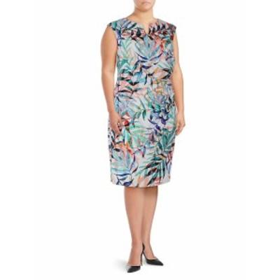 アドリアーナ パペル レディース ワンピース Plus Multicolored Leaf-Print Sheath Dress