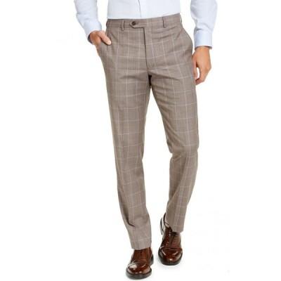 マイケル コース Michael Kors メンズ スラックス ボトムス・パンツ Classic-Fit Airsoft Stretch Brown Windowpane Suit Pants Brown