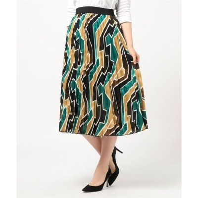 スカート レトロジグザグ柄プリーツスカート