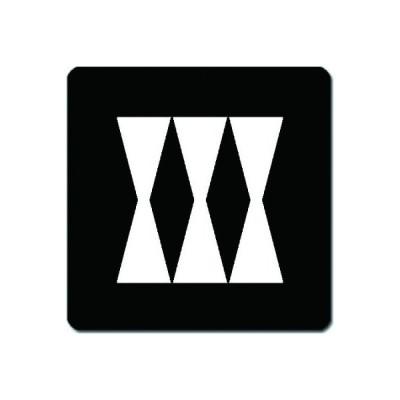 家紋シール 白紋黒地 三つ並び立鼓 10cm x 10cm KS10-1550W