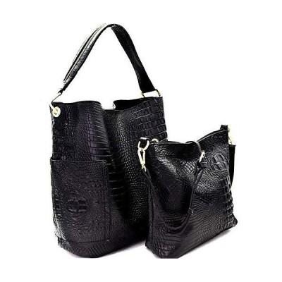 並行輸入品Handbag Republic Crocodile Embossed Side Pocket Tote w/Inner Bag Cross
