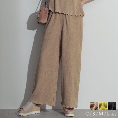 Re:EDIT 春夏を待たずに取り入れたいリラクシーなカラーパンツ [低身長向けSサイズ対応]楊柳リラックスストレートパンツ パンツ/パンツ グリーン ~S レディース