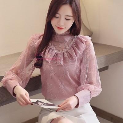 韓国 ファッション シフォン 女性 ブラウス レース 長袖 ピンク 女性 シャツ プラスサイズ XXL Blusas Femininas エレガンテ トップス AliExpress グループ