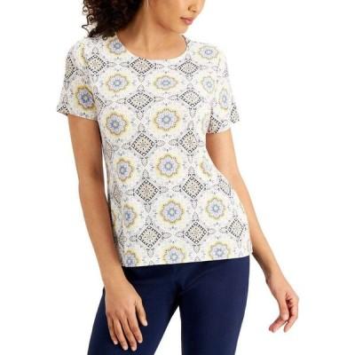 ジェイエムコレクション JM Collection レディース トップス Printed Short-Sleeve Jacquard Top Bright White