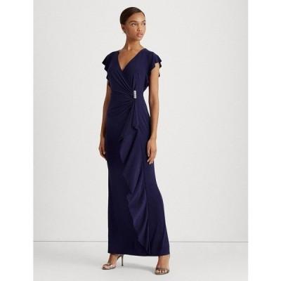 ラルフローレン ワンピース トップス レディース Flutter-Sleeve Gown Navy Blue