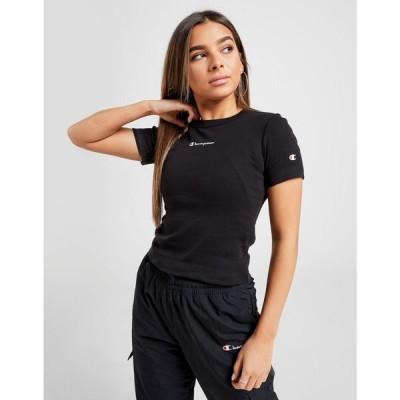 チャンピオン Champion レディース ベアトップ・チューブトップ・クロップド スリム Tシャツ トップス small logo slim crop t-shirt black