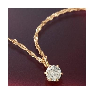 ダイヤモンド ネックレス K18 ピンクゴールド 0.1ct Hカラー I1クラス ダイヤ1石 0.1カラット ペンダント 直送品/代引不可