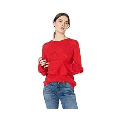 The Fifth Label Women's Juno Ruffle Sleeve Lightweight Soft Sweater, red, X