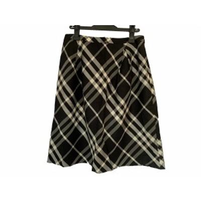 バーバリーロンドン Burberry LONDON スカート サイズ44 XL レディース 美品 黒×グレー×白 チェック柄【中古】20200729