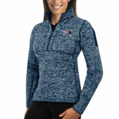 Antigua アンティグア スポーツ用品  Antigua New England Patriots Womens Heather Navy Fortune Half-Zip Sweater