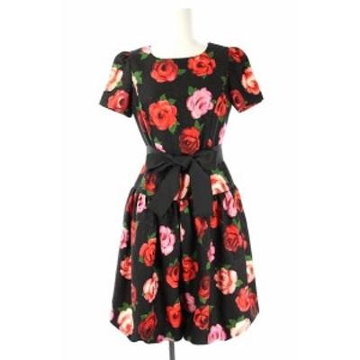 【中古】エムズグレイシー フラワープリントフレアワンピース 花柄 総柄 ひざ丈 ウエスリボン付き 半袖 36 黒 赤