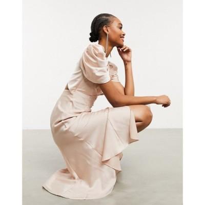 エイソス ASOS DESIGN レディース ワンピース ミドル丈 ワンピース・ドレス Button Through Midi Tea Dress With Drape Shoulder Detail ベビーピンク