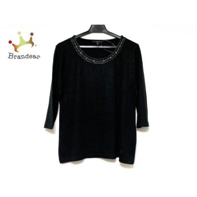 ダックス DAKS 七分袖セーター サイズ40 L レディース 美品 黒 ビーズ 新着 20200717