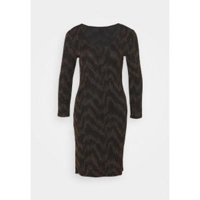 オンリー トール レディース ワンピース トップス ONYFANCY 3/4 GLITTER DRESS - Shift dress - black/gold black/gold