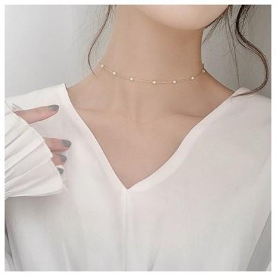 アクセサリー ネックレス パール チョーカー 韓国 パールネックレス 大人かわいい 韓国ファッション ホワイト ゴールド シルバー