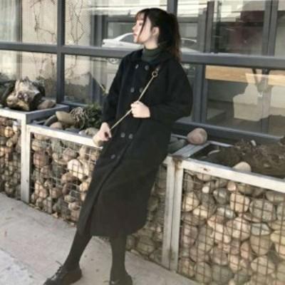 ウール タッチ ステンカラー コート アウター レディース 秋 冬 物 長袖 ミドル 丈 韓国 ファッション おしゃれ OU-0147