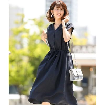 麻調合繊スキッパーシャツワンピース(共布リボンベルト付) (ワンピース)Dress