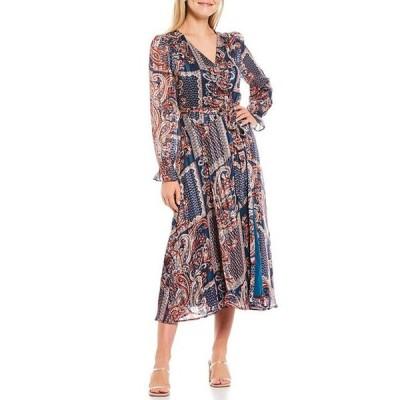 スカイズアブルー レディース ワンピース トップス Paisley Patched Print Jacquard Dot Woven Long Sleeve Midi Wrap Dress