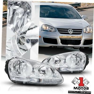 ヘッドライト 05-10 VW Jetta / Rabbit MK5用のクロームハウジングクリスタルクリアレンズヘッドライトランプ  Chrome H