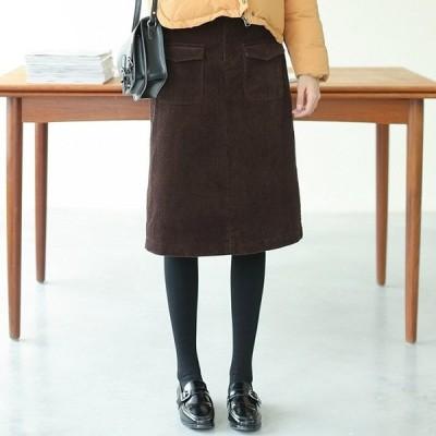 秋冬物 スカート ミディアム 上品 ベイクドカラー シンプル