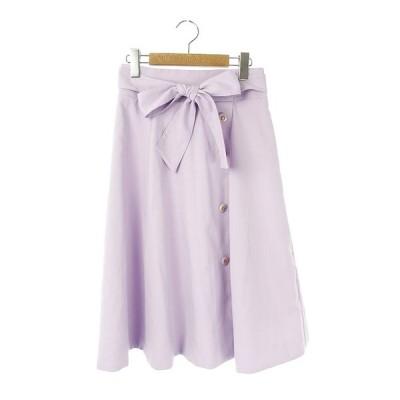 【中古】アプワイザーリッシェ Apuweiser-riche 19SS カラーフレアスカート ひざ丈 ベルト付き 1 紫 /YS ■OS レディース 【ベクトル 古着】
