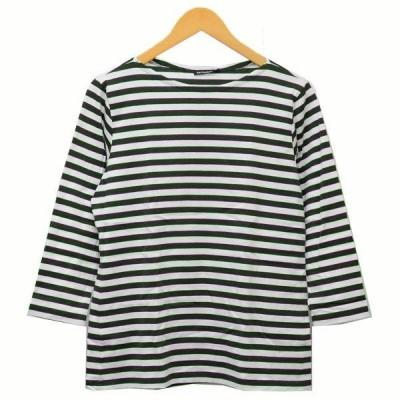 【5月11日値下】marimekko ボーダーロンT Tシャツ グリーン×ホワイト サイズ:M (三軒茶屋店)