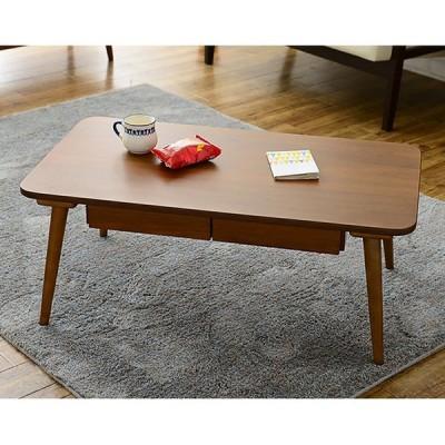センターテーブル レトロテーブルFB D(引出しあり) ホワイト 白 ブラウン 茶 長方形 木製 引き出し付 リモコン 収納 送料無料(直送)
