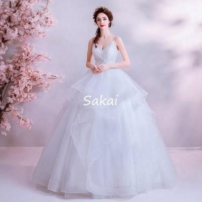 ウェディングドレス 白 二次会 大きいサイズ 安い 結婚式 ブライダル パーティー 花嫁 ロングドレス 披露宴 プリンセス