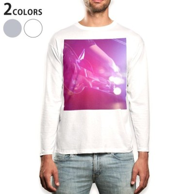 ロングTシャツ メンズ 長袖 ホワイト グレー XS S M L XL 2XL Tシャツ ティーシャツ T shirt long sleeve  ギター ライブ 写真 012494