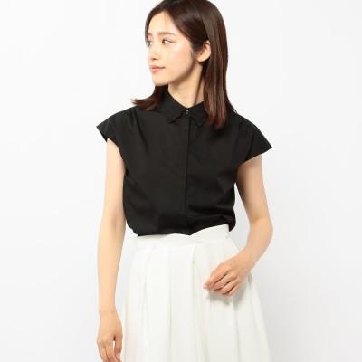 ミッシュマッシュ MISCH MASCH 刺繍衿フレンチスリーブシャツ (クロ)