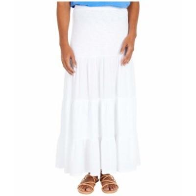 モッドドック レディース スカート ボトムス Heavier Slub Jersey Tiered Maxi Skirt with Gauze Panels White