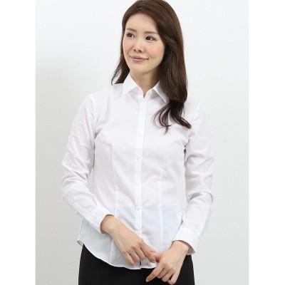 【タカキュー】 形態安定レギュラーカラー ブロード長袖シャツ レディース ホワイト S TAKA-Q