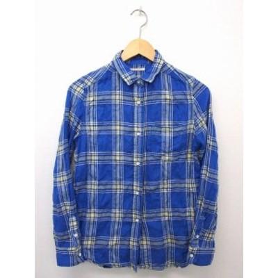 【中古】ガリャルダガランテ GALLARDAGALANTE シャツ ブラウス チェック 長袖 胸ポケット コットン 綿 F ブルー 青