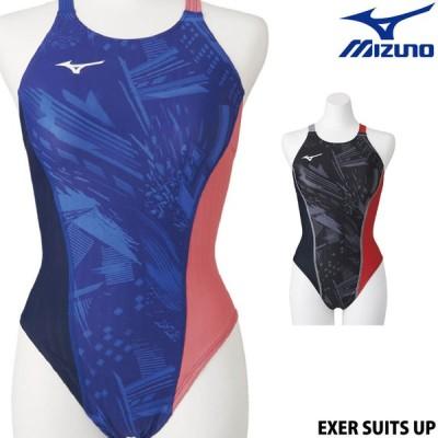 ミズノ MIZUNO 競泳水着 レディース 練習用 ミディアムカット EXER SUITS UP ストリームフィットAW ダイバーシティコンセプト 2021年春夏モデル N2MA0761