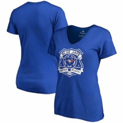 Fanatics Branded ファナティクス ブランド スポーツ用品  Toronto Blue Jays Womens Royal Police Badge T-Shirt
