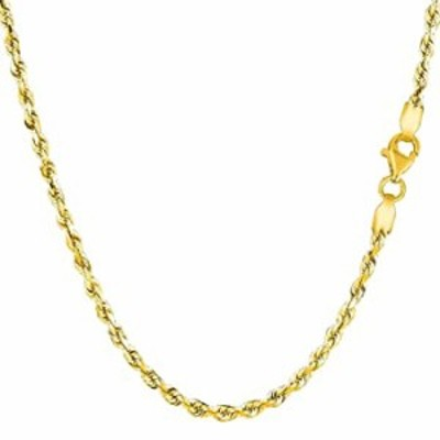 """10k REAL Yellow or White Gold 2.00mm Shiny Hollow Rope Chain Necklace for Pendants and Charms with Lobster-Claw Clasp (16"""", 18"""""""
