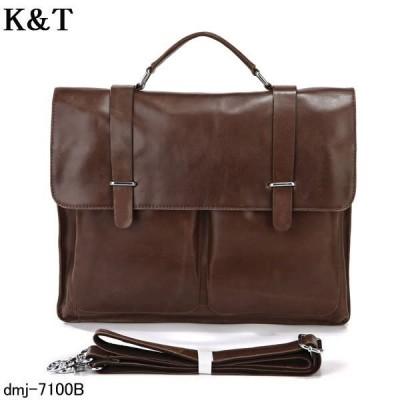 DMJ ブリーフケース 本革(牛革) 2WAY 新品鞄 メンズバッグ 斜め掛け  カバン  dmj-7100B ビジネスバッグ
