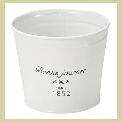 『ブリキ』丸タイプ鉢(ホワイト)/S(2Pセット)