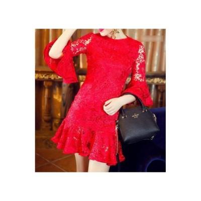ベルスリーブ☆フィッシュテール♪総レースフラウンスドレス 3色