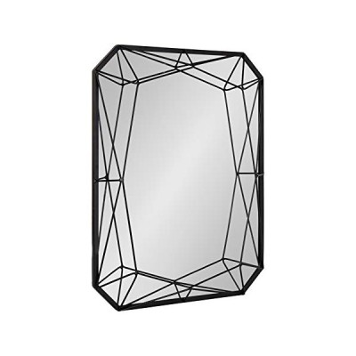 Kate and Laurel Keyleigh Modern Glam Geometric Shaped Metal Accent Wall Mirror, Black[並行輸入品]