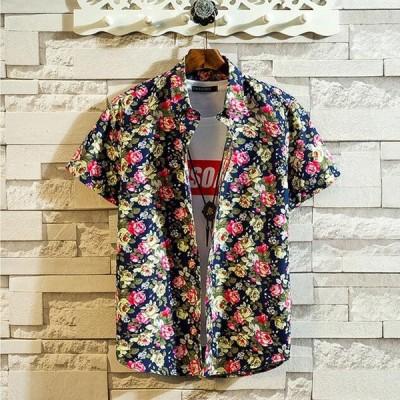 ハワイプリント半袖シャツトップカジュアルメンズシャツストリートスプライシングパターンターンダウン襟ブラウスシュミーズオム