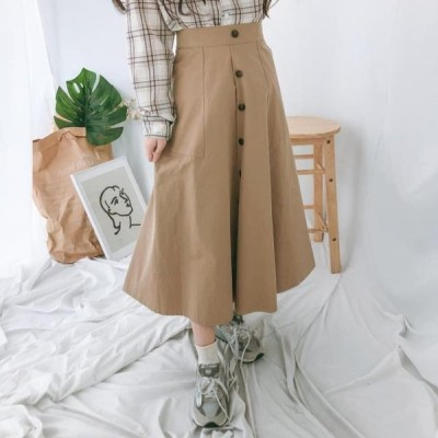 GIRLS RULE レディース スカート Georgia button flared long skirt
