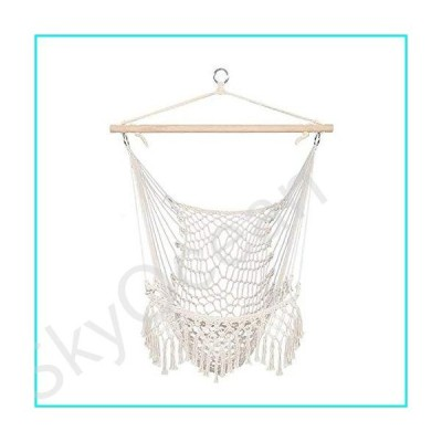 GZLZZ Hanging Chair, Hammock Chair Macrame Swing - Max 250 Lbs-Hanging Cotton Rope Hammock Swing Chair for Indoor and Outdoor Use【並行輸入品】