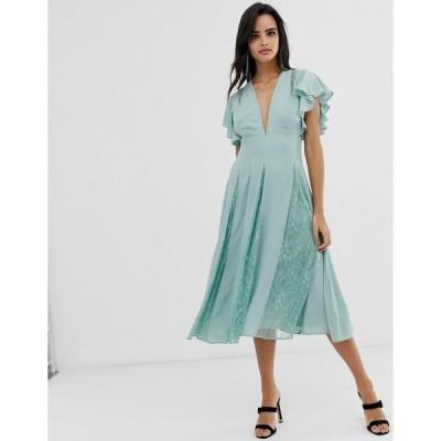 エイソス ミディドレス レディース ASOS DESIGN midi dress with lace godet panels エイソス ASOS