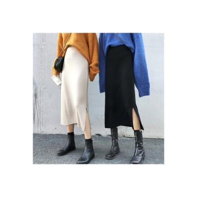 【送料無料】年 秋冬 韓国風 ハイウエスト 着やせ ニットスカート デザイン 感 小 着やせ スリッ | 364331_A63590-5529865